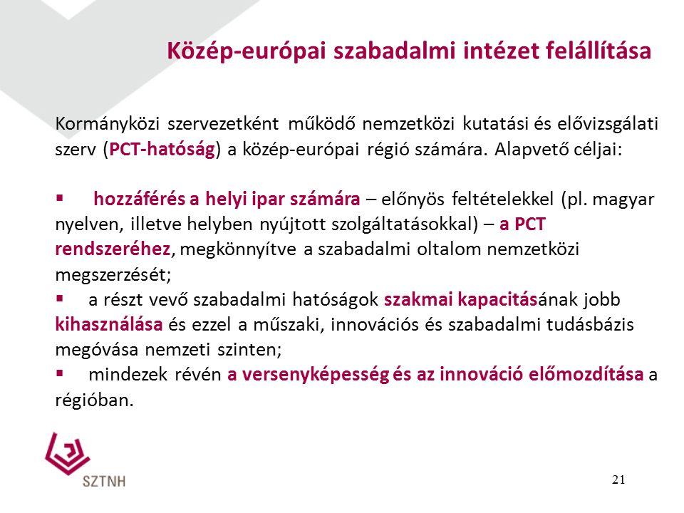 21 Közép-európai szabadalmi intézet felállítása Kormányközi szervezetként működő nemzetközi kutatási és elővizsgálati szerv (PCT-hatóság) a közép-európai régió számára.