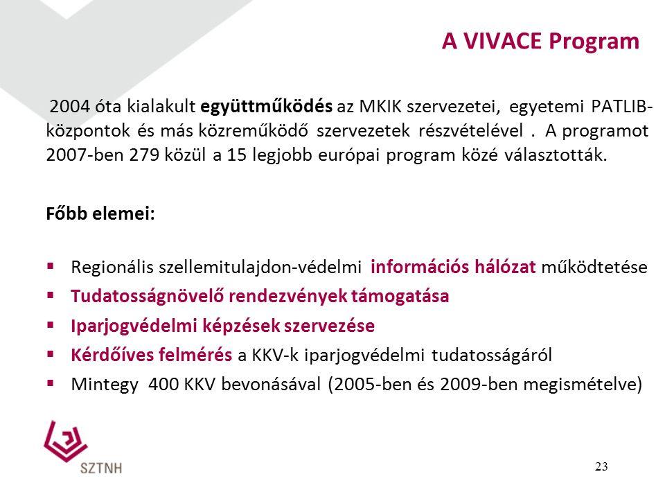 A VIVACE Program 2004 óta kialakult együttműködés az MKIK szervezetei, egyetemi PATLIB- központok és más közreműködő szervezetek részvételével.