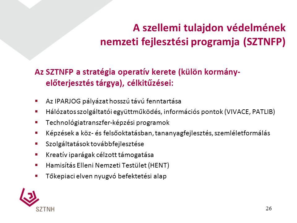 Az SZTNFP a stratégia operatív kerete (külön kormány- előterjesztés tárgya), célkitűzései:  Az IPARJOG pályázat hosszú távú fenntartása  Hálózatos szolgáltatói együttműködés, információs pontok (VIVACE, PATLIB)  Technológiatranszfer-képzési programok  Képzések a köz- és felsőoktatásban, tananyagfejlesztés, szemléletformálás  Szolgáltatások továbbfejlesztése  Kreatív iparágak célzott támogatása  Hamisítás Elleni Nemzeti Testület (HENT)  Tőkepiaci elven nyugvó befektetési alap 26 A szellemi tulajdon védelmének nemzeti fejlesztési programja (SZTNFP)