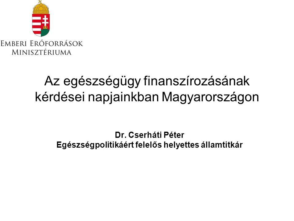 Az egészségügy finanszírozásának kérdései napjainkban Magyarországon Dr. Cserháti Péter Egészségpolitikáért felelős helyettes államtitkár