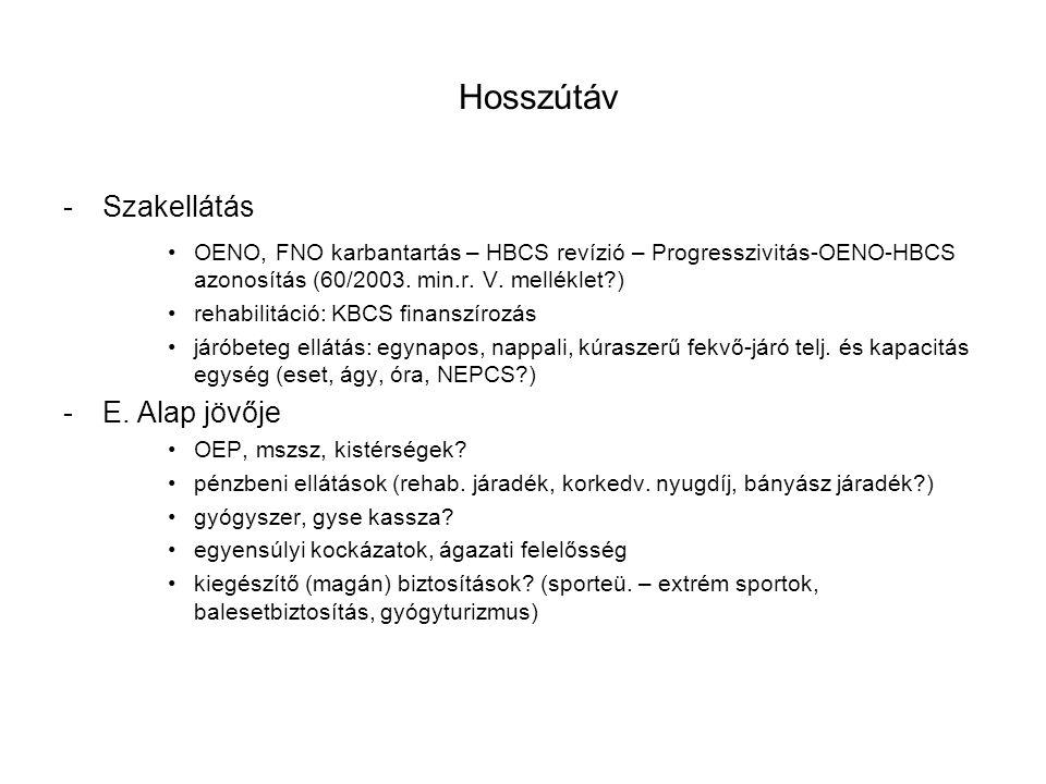-Szakellátás OENO, FNO karbantartás – HBCS revízió – Progresszivitás-OENO-HBCS azonosítás (60/2003. min.r. V. melléklet?) rehabilitáció: KBCS finanszí
