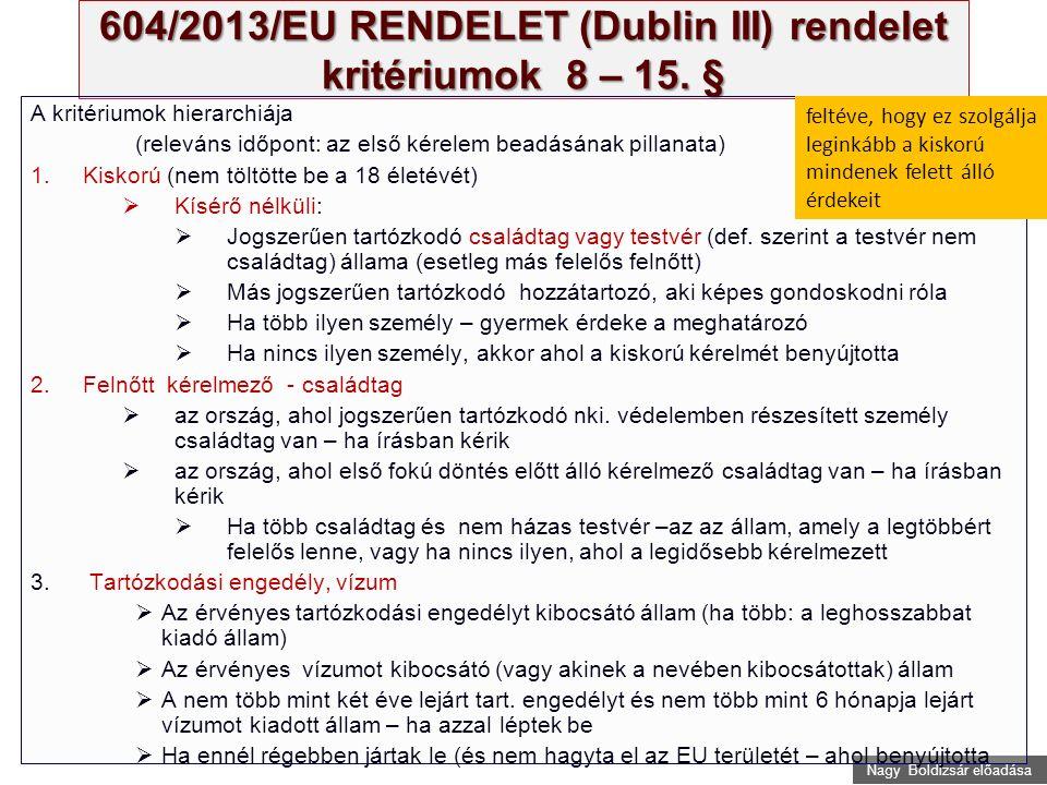 Nagy Boldizsár előadása 604/2013/EU RENDELET (Dublin III) rendelet kritériumok 8 – 15.