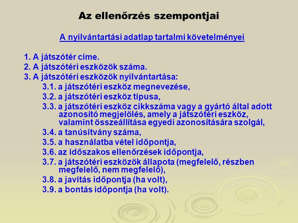 Az ellenőrzés szempontjai A nyilvántartási adatlap tartalmi követelményei 1. A játszótér címe. 2. A játszótéri eszközök száma. 3. A játszótéri eszközö