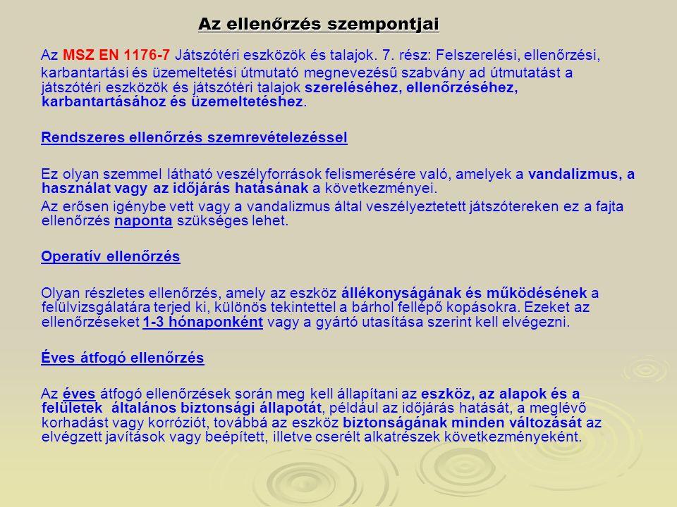 Az ellenőrzés szempontjai Az MSZ EN 1176-7 Játszótéri eszközök és talajok. 7. rész: Felszerelési, ellenőrzési, karbantartási és üzemeltetési útmutató