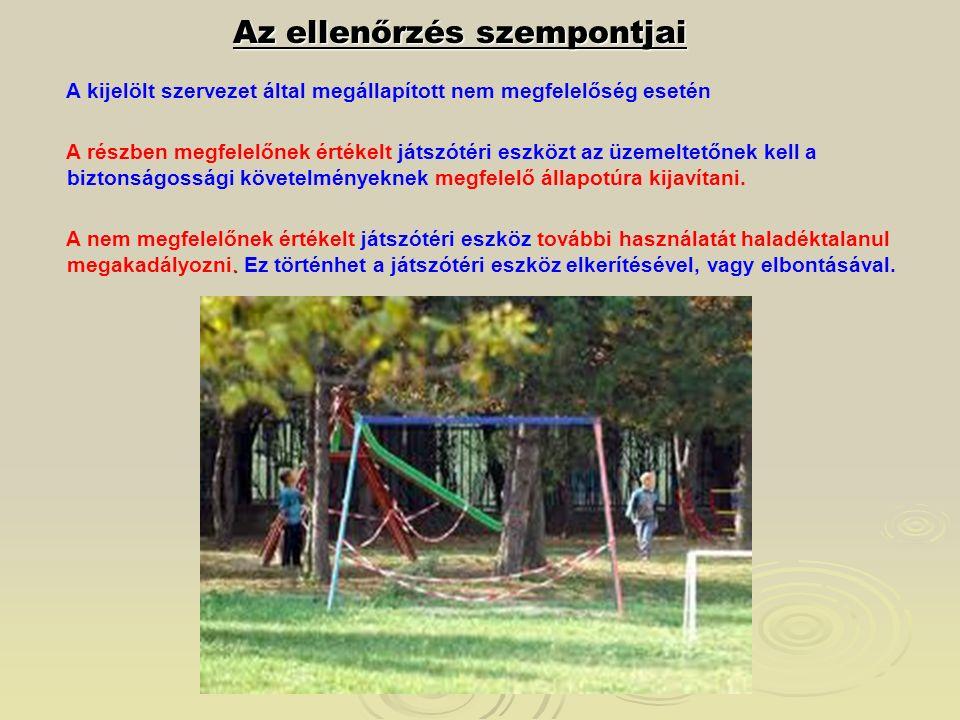Az ellenőrzés szempontjai A kijelölt szervezet által megállapított nem megfelelőség esetén A részben megfelelőnek értékelt játszótéri eszközt az üzeme