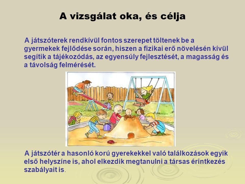 A vizsgálat oka, és célja A játszóterek rendkívül fontos szerepet töltenek be a gyermekek fejlődése során, hiszen a fizikai erő növelésén kívül segíti