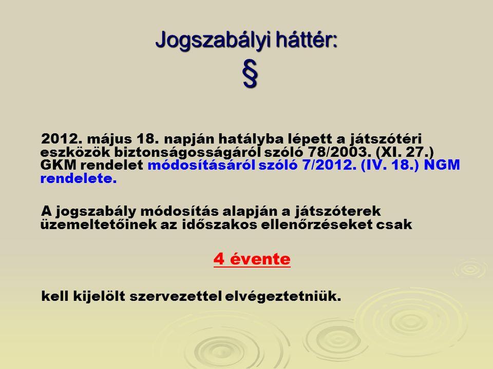 Jogszabályi háttér: § 2012. május 18. napján hatályba lépett a játszótéri eszközök biztonságosságáról szóló 78/2003. (XI. 27.) GKM rendelet módosításá