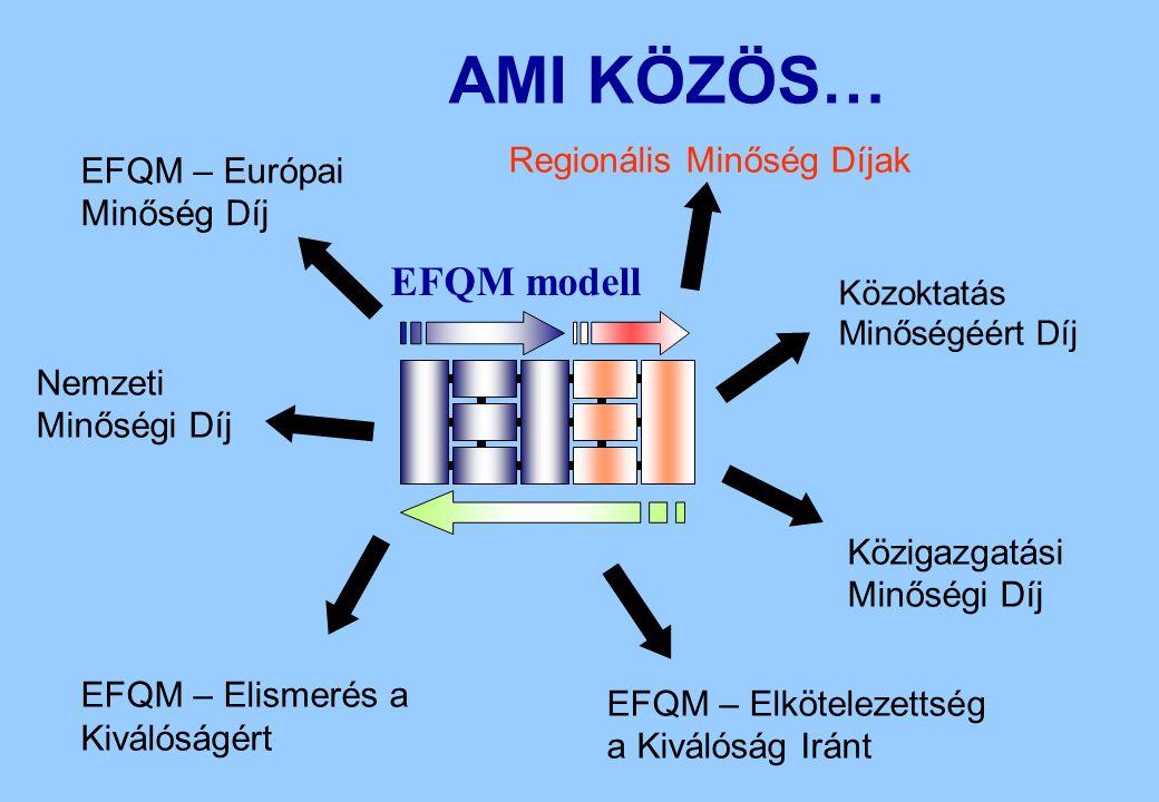 EFQM – Elkötelezettség a Kiválóság Iránt Regionális Minőség Díjak EFQM – Elismerés a Kiválóságért Nemzeti Minőségi Díj EFQM – Európai Minőség Díj Közoktatás Minőségéért Díj Közigazgatási Minőségi Díj AMI KÖZÖS… EFQM modell
