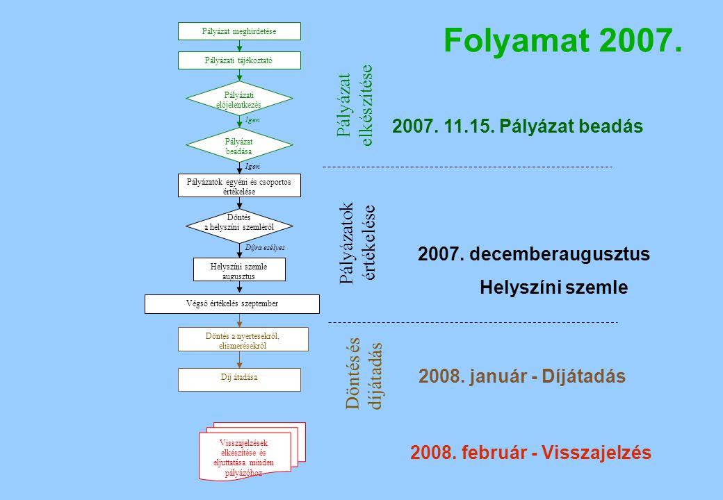 Folyamat 2007. Pályázat meghirdetése Pályázati tájékoztató Pályázatok egyéni és csoportos értékelése Pályázati előjelentkezés Pályázat beadása Döntés