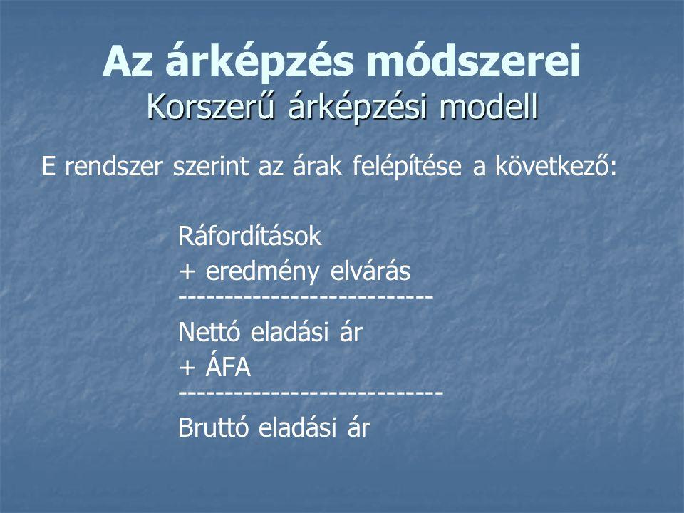 Korszerű árképzési modell Az árképzés módszerei Korszerű árképzési modell E rendszer szerint az árak felépítése a következő: Ráfordítások + eredmény elvárás --------------------------- Nettó eladási ár + ÁFA ---------------------------- Bruttó eladási ár