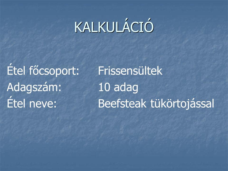 KALKULÁCIÓ Étel főcsoport:Frissensültek Adagszám:10 adag Étel neve:Beefsteak tükörtojással