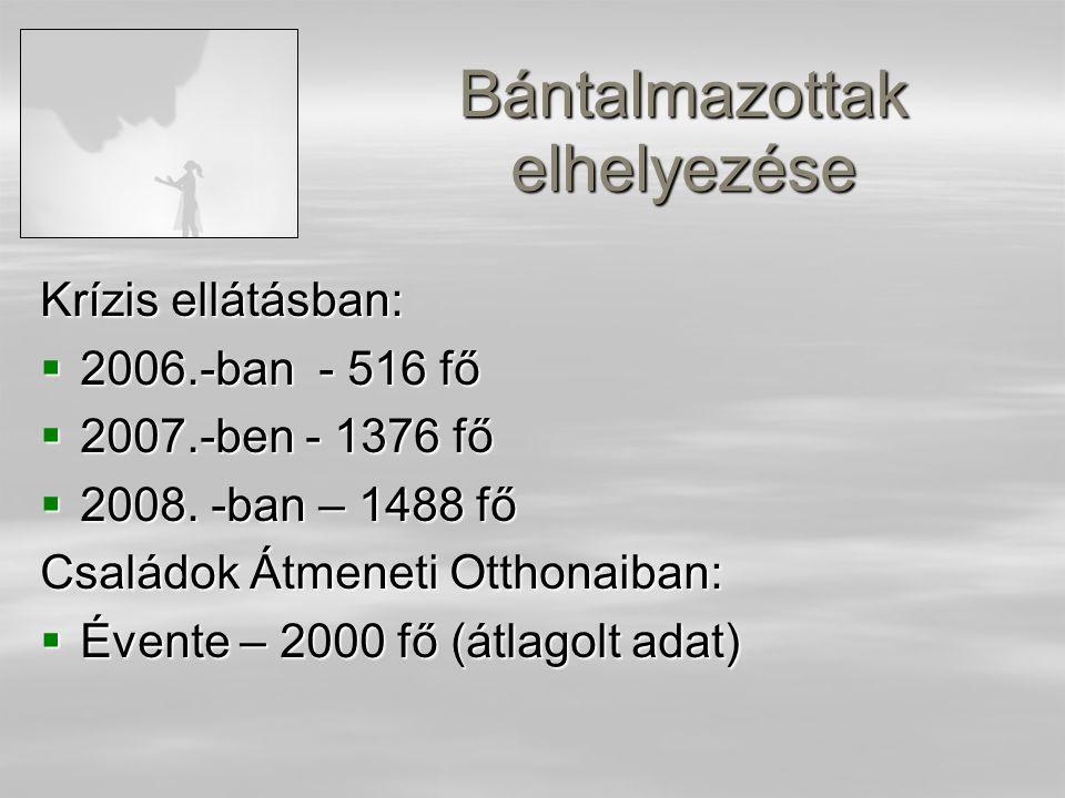 Bántalmazottak elhelyezése Krízis ellátásban:  2006.-ban - 516 fő  2007.-ben - 1376 fő  2008.