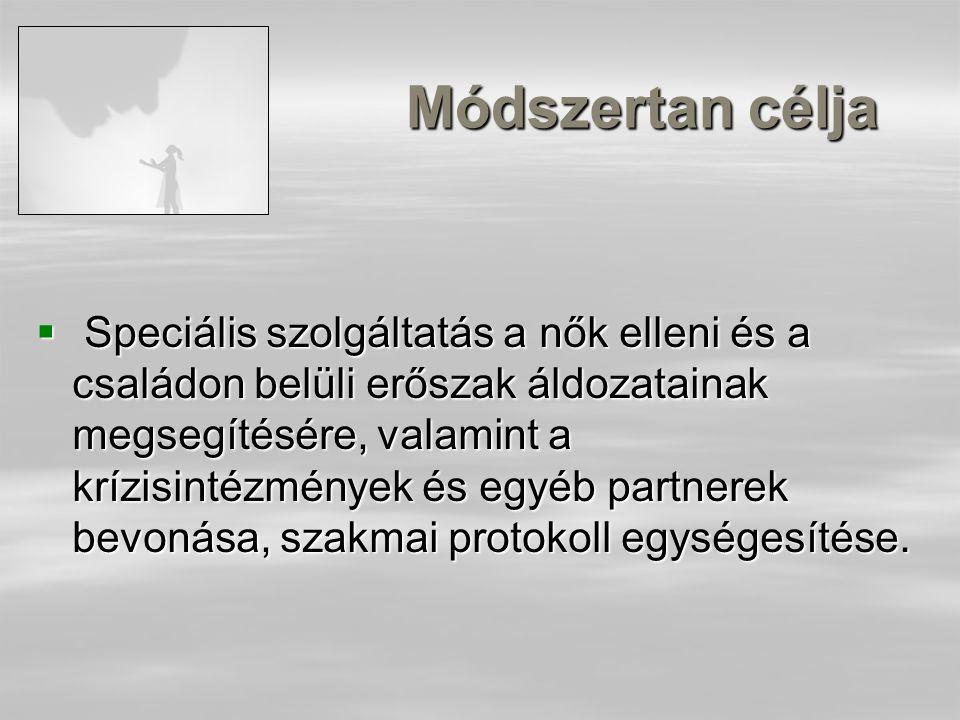 Módszertan célja  Speciális szolgáltatás a nők elleni és a családon belüli erőszak áldozatainak megsegítésére, valamint a krízisintézmények és egyéb partnerek bevonása, szakmai protokoll egységesítése.