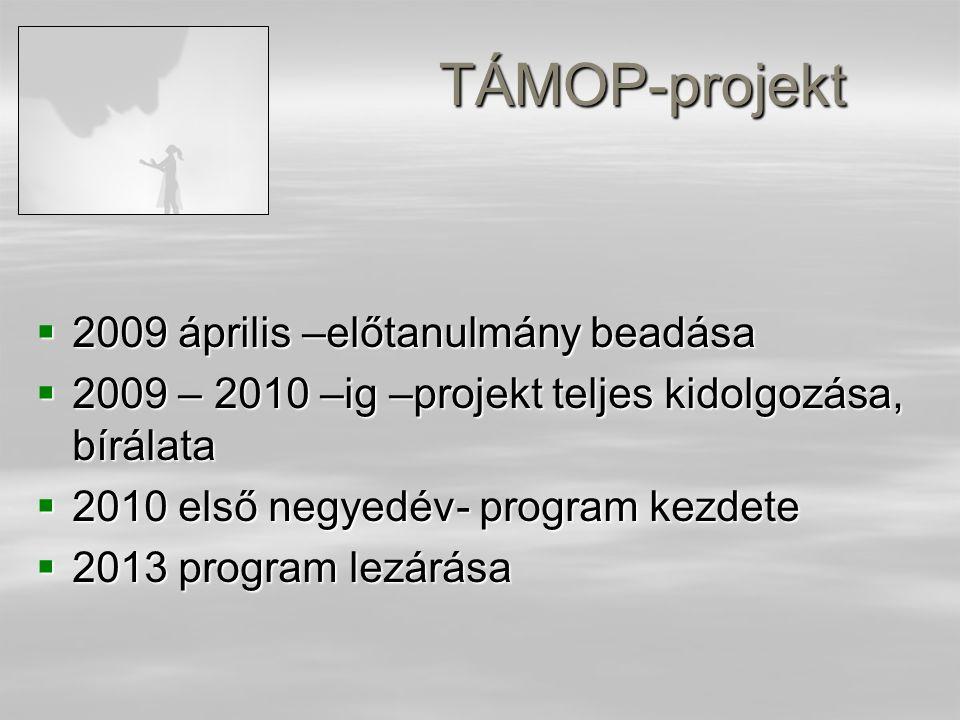 TÁMOP-projekt  2009 április –előtanulmány beadása  2009 – 2010 –ig –projekt teljes kidolgozása, bírálata  2010 első negyedév- program kezdete  2013 program lezárása