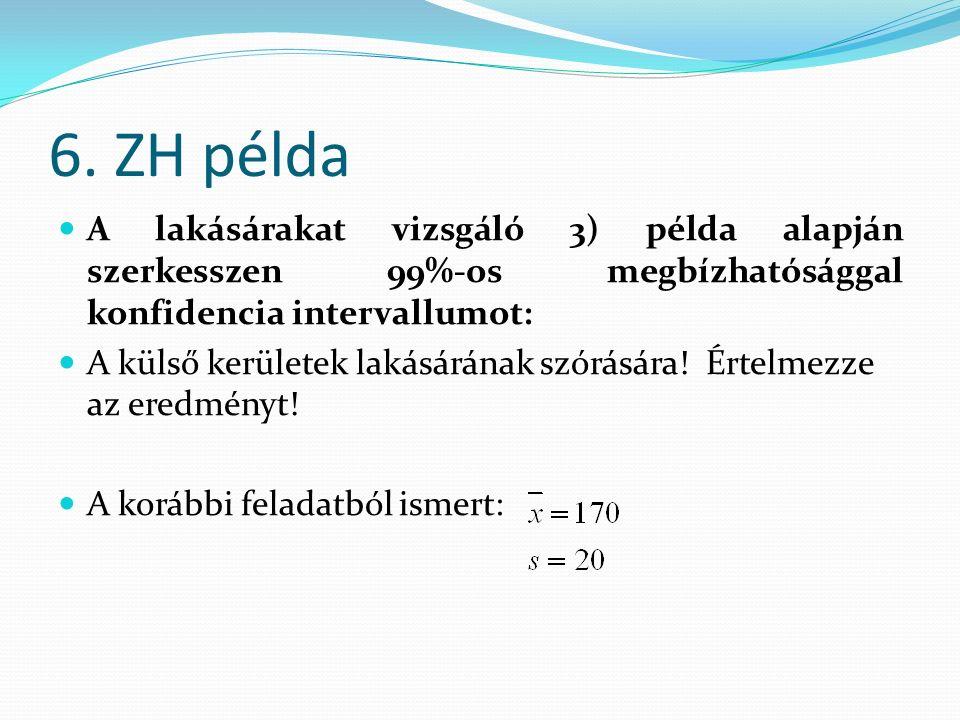 6. ZH példa A lakásárakat vizsgáló 3) példa alapján szerkesszen 99%-os megbízhatósággal konfidencia intervallumot: A külső kerületek lakásárának szórá