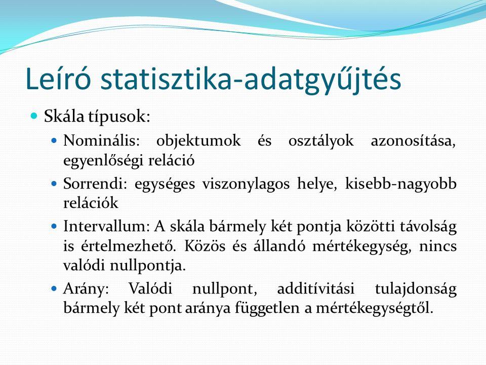Leíró statisztika-adatgyűjtés Skála típusok: Nominális: objektumok és osztályok azonosítása, egyenlőségi reláció Sorrendi: egységes viszonylagos helye, kisebb-nagyobb relációk Intervallum: A skála bármely két pontja közötti távolság is értelmezhető.