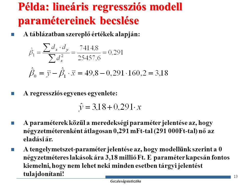 Gazdaságstatisztika A táblázatban szereplő értékek alapján: A regressziós egyenes egyenlete: A paraméterek közül a meredekségi paraméter jelentése az, hogy négyzetméterenként átlagosan 0,291 mFt-tal (291 000Ft-tal) nő az eladási ár.