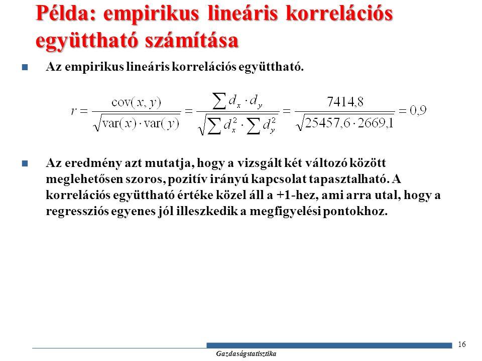 Gazdaságstatisztika Az empirikus lineáris korrelációs együttható.