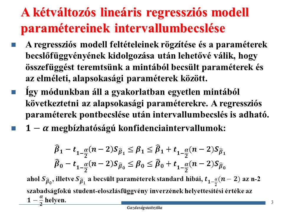 Gazdaságstatisztika 4 A lineáris regressziós modell eredményeinek ellenőrzése: hipotézisvizsgálatok