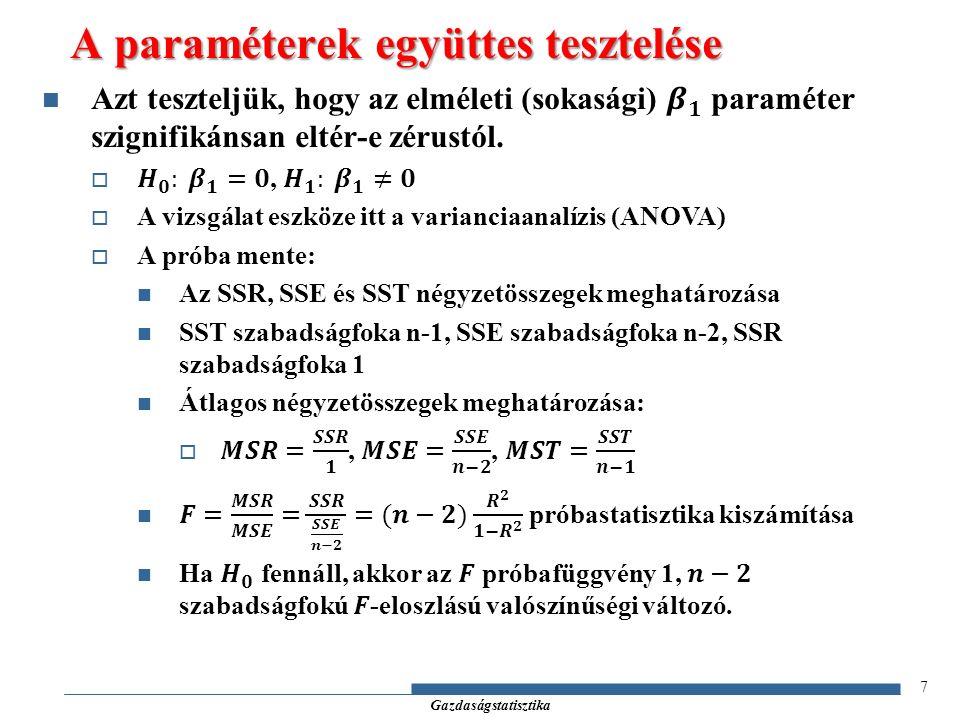 Gazdaságstatisztika 8 A paraméterek együttes tesztelése