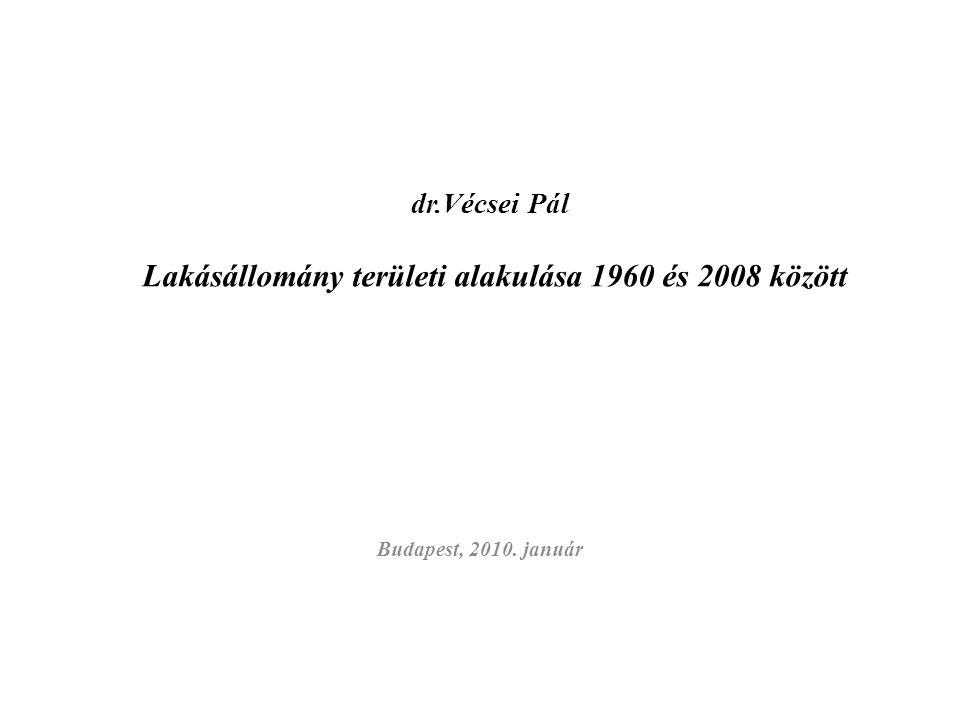dr.Vécsei Pál Lakásállomány területi alakulása 1960 és 2008 között Budapest, 2010. január