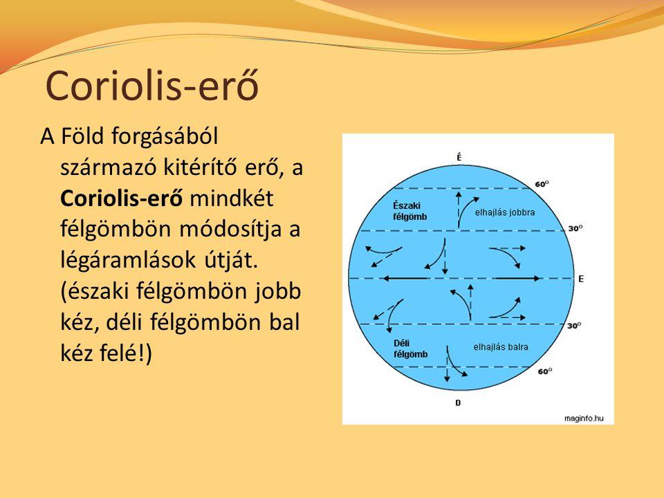 Coriolis-erő A Föld forgásából származó kitérítő erő, a Coriolis-erő mindkét félgömbön módosítja a légáramlások útját.