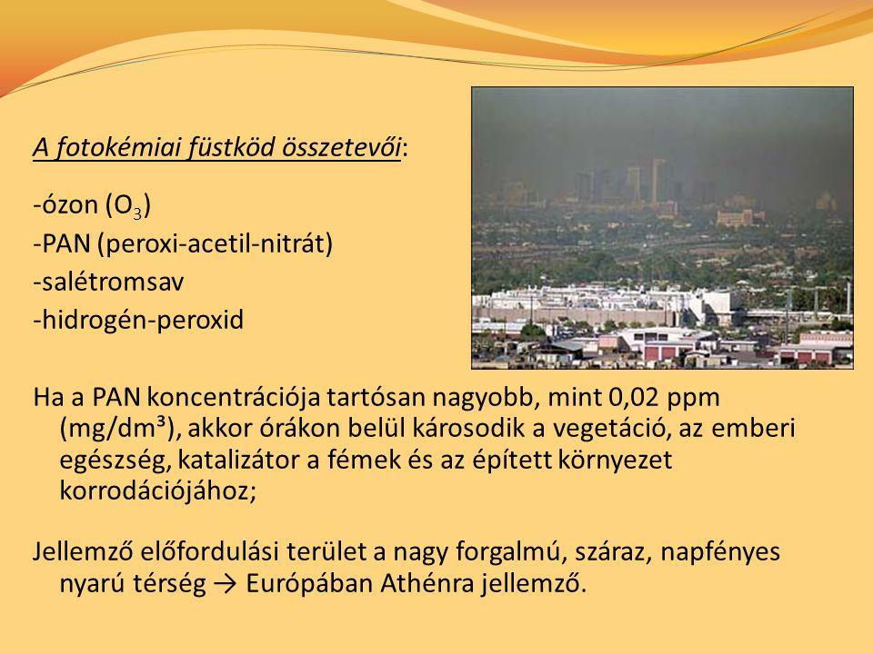 A fotokémiai füstköd összetevői: -ózon (O 3 ) -PAN (peroxi-acetil-nitrát) -salétromsav -hidrogén-peroxid Ha a PAN koncentrációja tartósan nagyobb, mint 0,02 ppm (mg/dm³), akkor órákon belül károsodik a vegetáció, az emberi egészség, katalizátor a fémek és az épített környezet korrodációjához; Jellemző előfordulási terület a nagy forgalmú, száraz, napfényes nyarú térség → Európában Athénra jellemző.