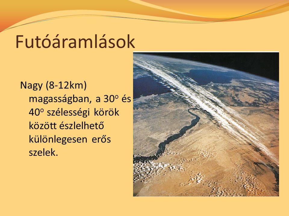 Futóáramlások Nagy (8-12km) magasságban, a 30 o és 40 o szélességi körök között észlelhető különlegesen erős szelek.