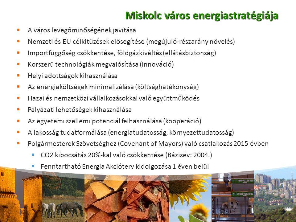 Miskolc város energiastratégiája  A város levegőminőségének javítása  Nemzeti és EU célkitűzések elősegítése (megújuló-részarány növelés)  Importfüggőség csökkentése, földgázkiváltás (ellátásbiztonság)  Korszerű technológiák megvalósítása (innováció)  Helyi adottságok kihasználása  Az energiaköltségek minimalizálása (költséghatékonyság)  Hazai és nemzetközi vállalkozásokkal való együttműködés  Pályázati lehetőségek kihasználása  Az egyetemi szellemi potenciál felhasználása (kooperáció)  A lakosság tudatformálása (energiatudatosság, környezettudatosság)  Polgármesterek Szövetséghez (Covenant of Mayors) való csatlakozás 2015 évben  CO2 kibocsátás 20%-kal való csökkentése (Bázisév: 2004.)  Fenntartható Energia Akcióterv kidolgozása 1 éven belül