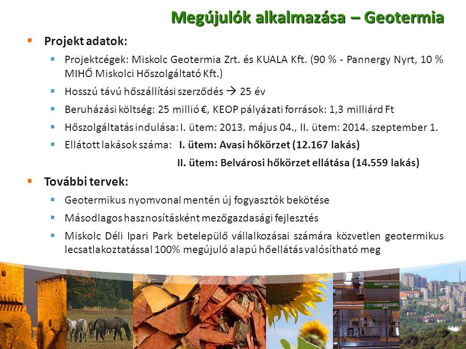  Projekt adatok:  Projektcégek: Miskolc Geotermia Zrt. és KUALA Kft. (90 % - Pannergy Nyrt, 10 % MIHŐ Miskolci Hőszolgáltató Kft.)  Hosszú távú hős