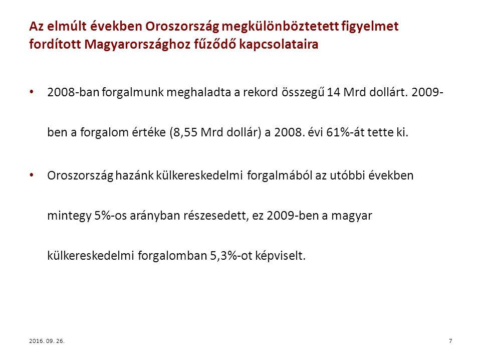 Az elmúlt években Oroszország megkülönböztetett figyelmet fordított Magyarországhoz fűződő kapcsolataira 2008-ban forgalmunk meghaladta a rekord összegű 14 Mrd dollárt.