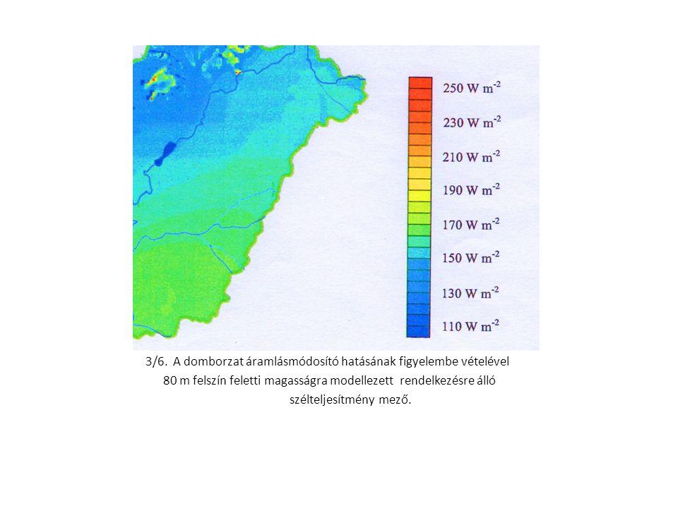 3/6. A domborzat áramlásmódosító hatásának figyelembe vételével 80 m felszín feletti magasságra modellezett rendelkezésre álló szélteljesítmény mező.