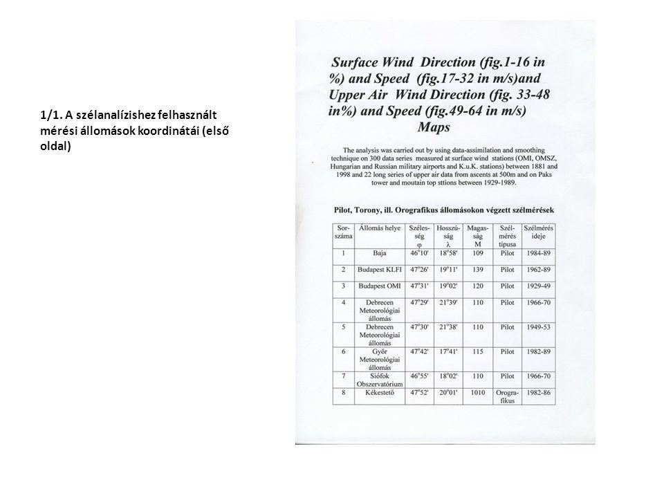 1/1. A szélanalízishez felhasznált mérési állomások koordinátái (első oldal)