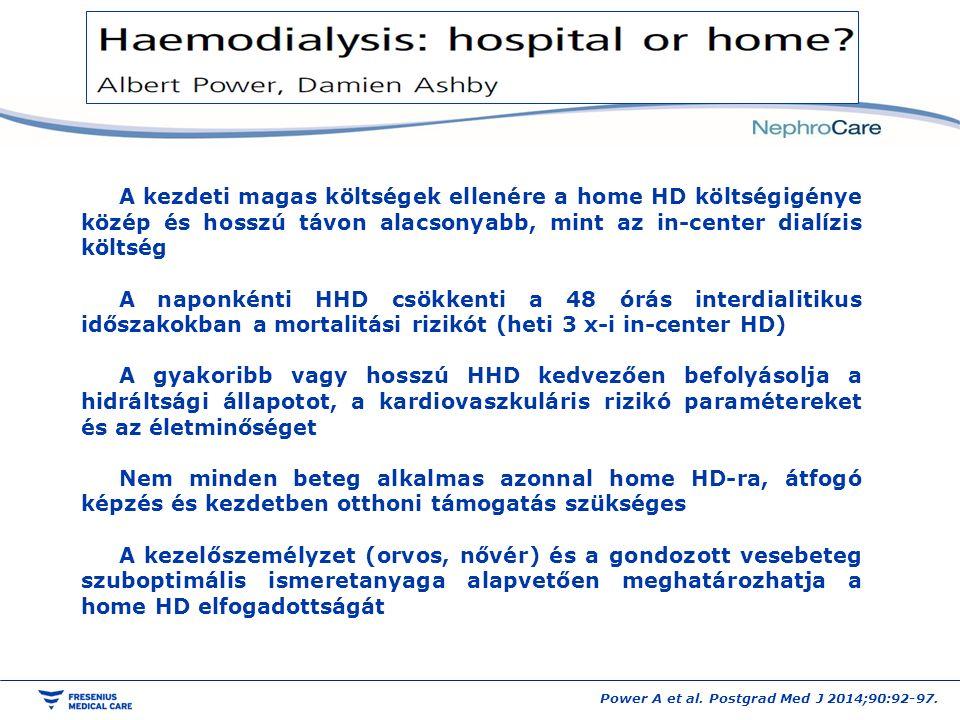 A kezdeti magas költségek ellenére a home HD költségigénye közép és hosszú távon alacsonyabb, mint az in-center dialízis költség A naponkénti HHD csökkenti a 48 órás interdialitikus időszakokban a mortalitási rizikót (heti 3 x-i in-center HD) A gyakoribb vagy hosszú HHD kedvezően befolyásolja a hidráltsági állapotot, a kardiovaszkuláris rizikó paramétereket és az életminőséget Nem minden beteg alkalmas azonnal home HD-ra, átfogó képzés és kezdetben otthoni támogatás szükséges A kezelőszemélyzet (orvos, nővér) és a gondozott vesebeteg szuboptimális ismeretanyaga alapvetően meghatározhatja a home HD elfogadottságát