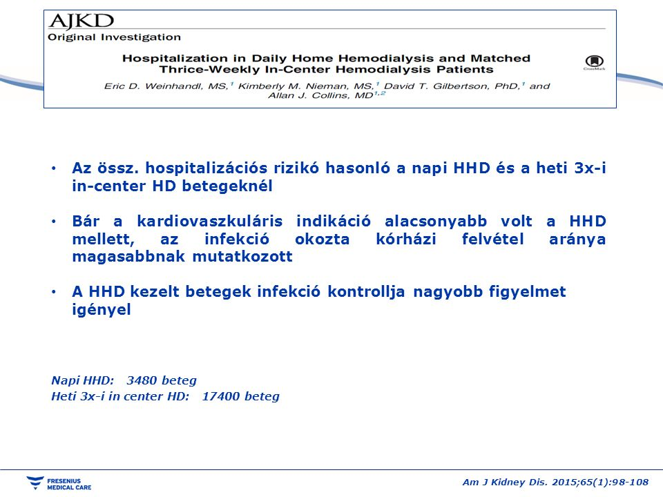 Am J Kidney Dis. 2015;65(1):98-108 Az össz. hospitalizációs rizikó hasonló a napi HHD és a heti 3x-i in-center HD betegeknél Bár a kardiovaszkuláris i