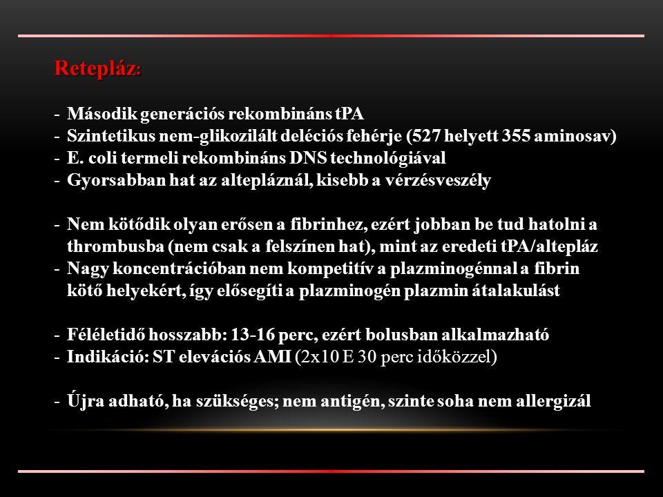 Retepláz : -Második generációs rekombináns tPA -Szintetikus nem-glikozilált deléciós fehérje (527 helyett 355 aminosav) -E.