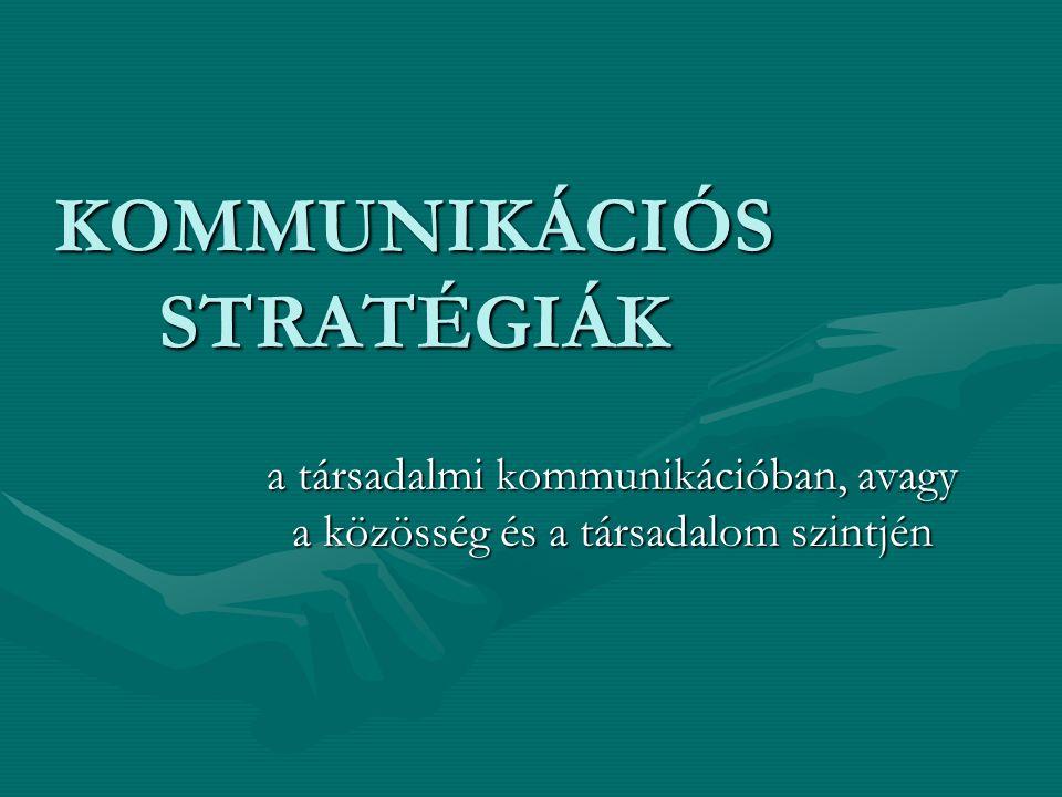 KOMMUNIKÁCIÓS STRATÉGIÁK a társadalmi kommunikációban, avagy a közösség és a társadalom szintjén