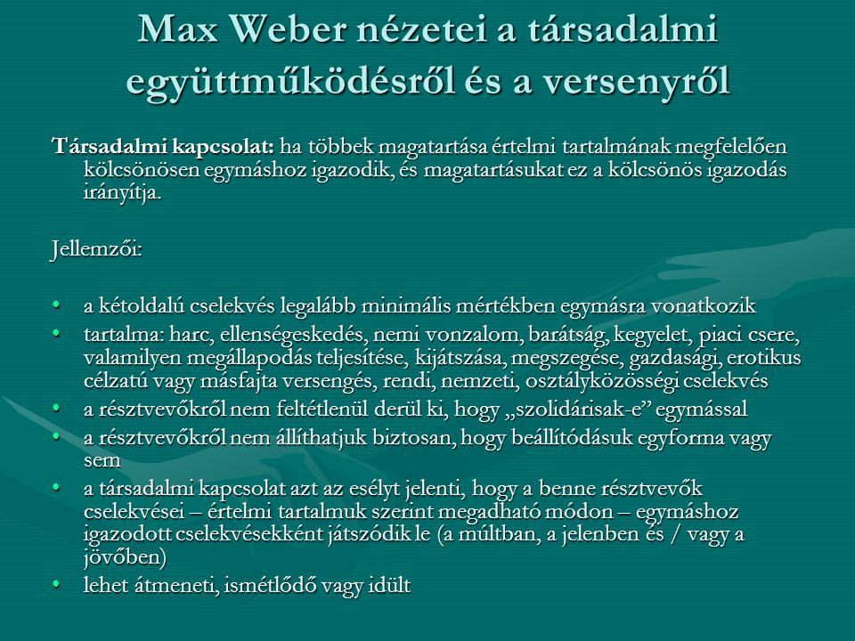 Max Weber nézetei a társadalmi együttműködésről és a versenyről Társadalmi kapcsolat: ha többek magatartása értelmi tartalmának megfelelően kölcsönösen egymáshoz igazodik, és magatartásukat ez a kölcsönös igazodás irányítja.