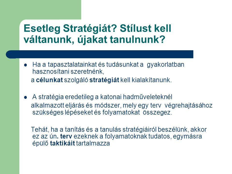 Esetleg Stratégiát. Stílust kell váltanunk, újakat tanulnunk.