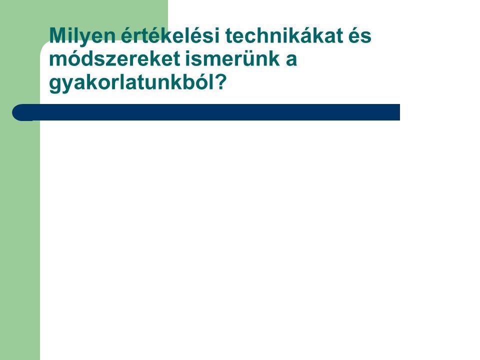 Mi a magyar gyakorlat.A magyar gyakorlatban az értékelés főleg a diák írásbeli produktumára épül.