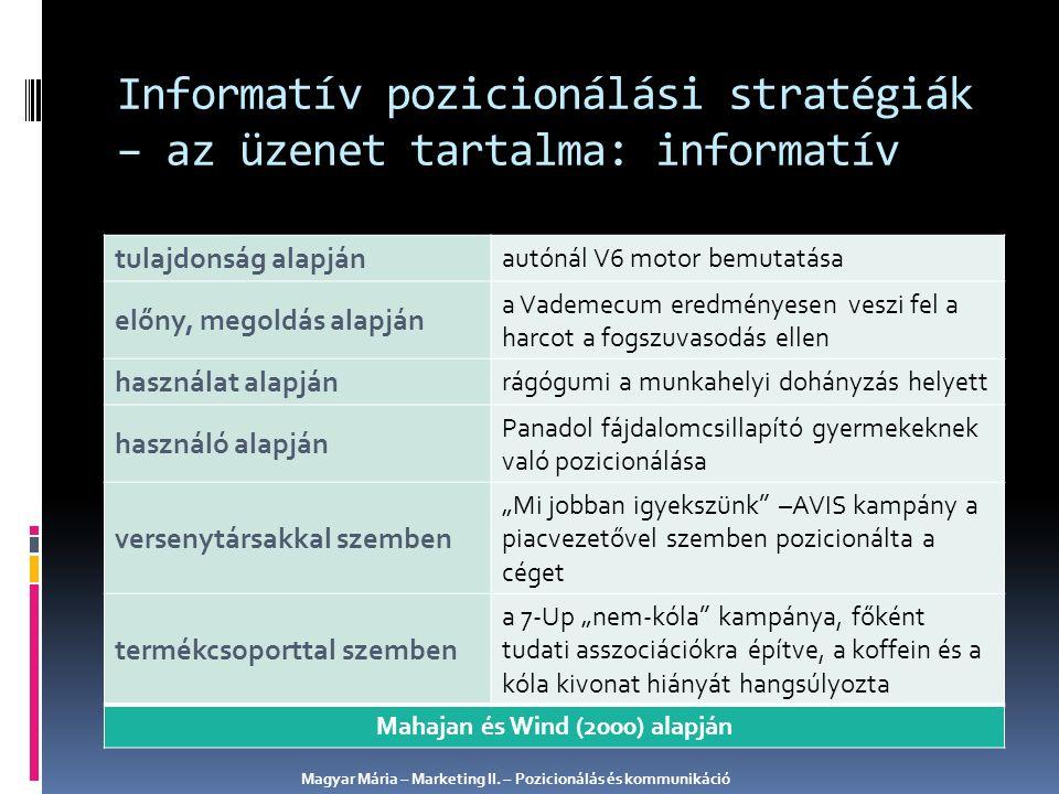 Informatív pozicionálási stratégiák – az üzenet tartalma: informatív tulajdonság alapján autónál V6 motor bemutatása előny, megoldás alapján a Vademec
