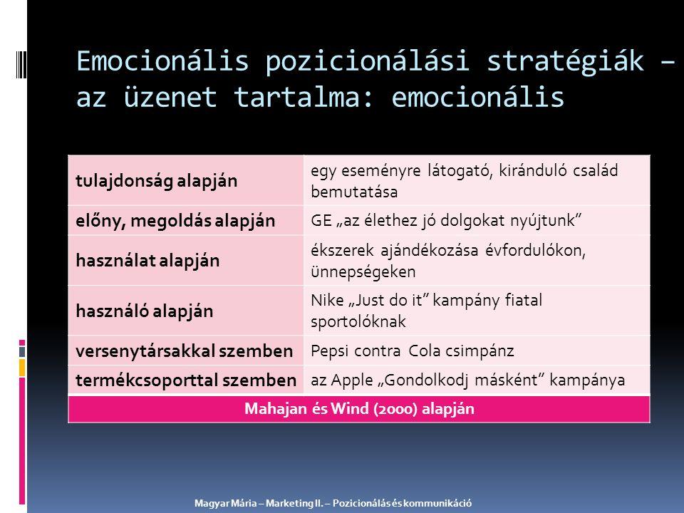 Emocionális pozicionálási stratégiák – az üzenet tartalma: emocionális tulajdonság alapján egy eseményre látogató, kiránduló család bemutatása előny,
