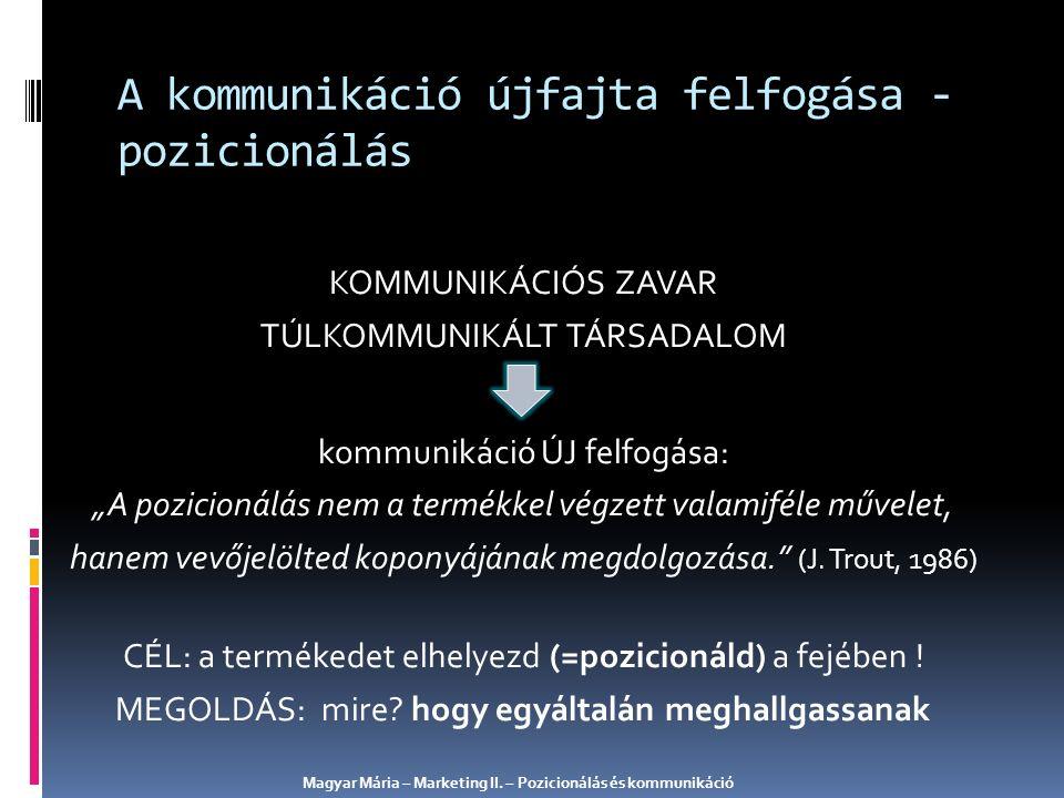 A pozicionálás koncepciójának születése Magyar Mária – Marketing II.