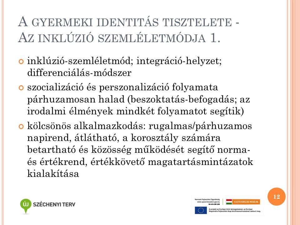 A GYERMEKI IDENTITÁS TISZTELETE - A Z INKLÚZIÓ SZEMLÉLETMÓDJA 1. inklúzió-szemléletmód; integráció-helyzet; differenciálás-módszer szocializáció és pe