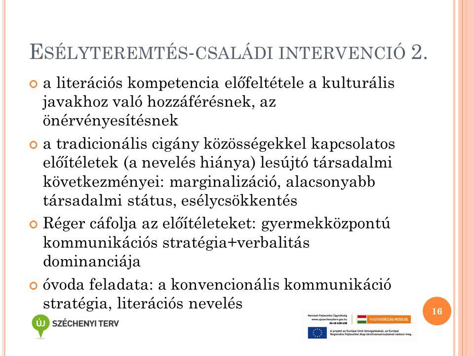 E SÉLYTEREMTÉS - CSALÁDI INTERVENCIÓ 2. a literációs kompetencia előfeltétele a kulturális javakhoz való hozzáférésnek, az önérvényesítésnek a tradici