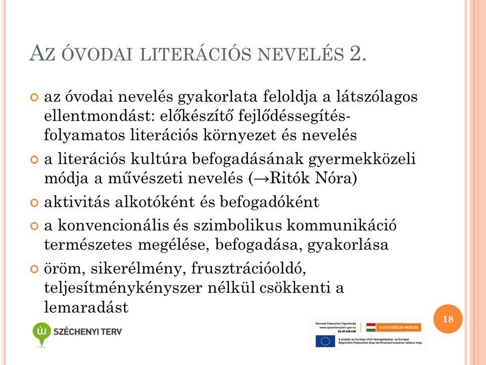 A Z ÓVODAI LITERÁCIÓS NEVELÉS 2. az óvodai nevelés gyakorlata feloldja a látszólagos ellentmondást: előkészítő fejlődéssegítés- folyamatos literációs