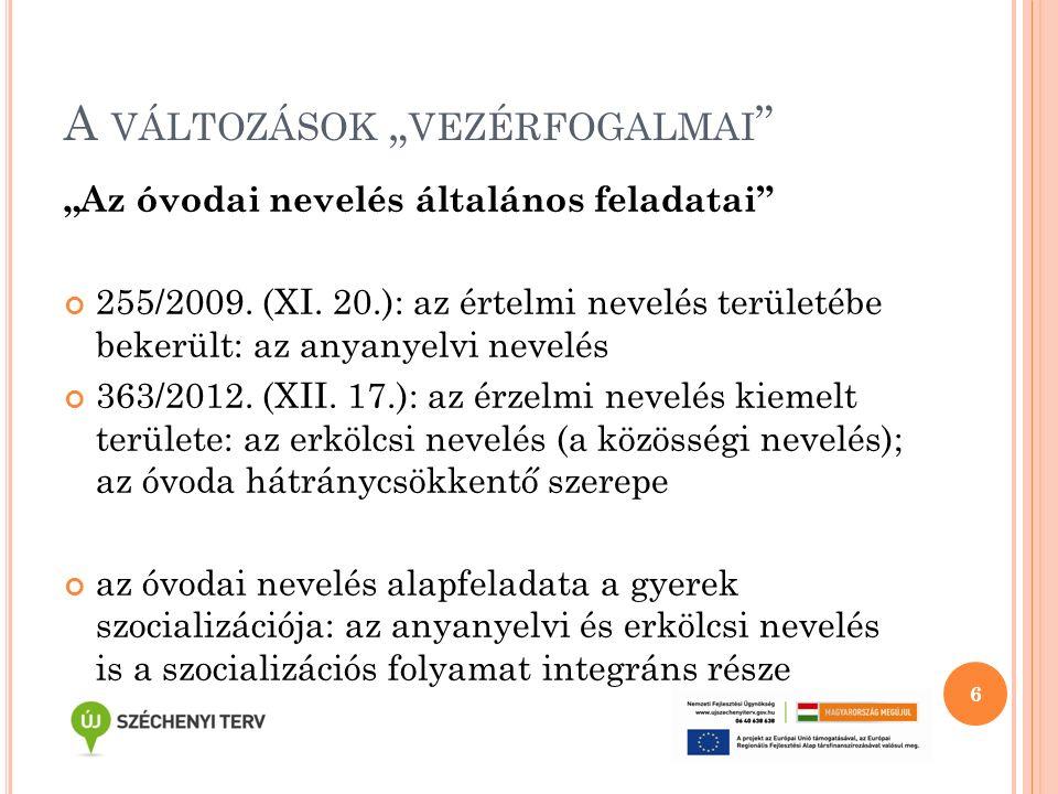 """A VÁLTOZÁSOK """" VEZÉRFOGALMAI """" """"Az óvodai nevelés általános feladatai"""" 255/2009. (XI. 20.): az értelmi nevelés területébe bekerült: az anyanyelvi neve"""