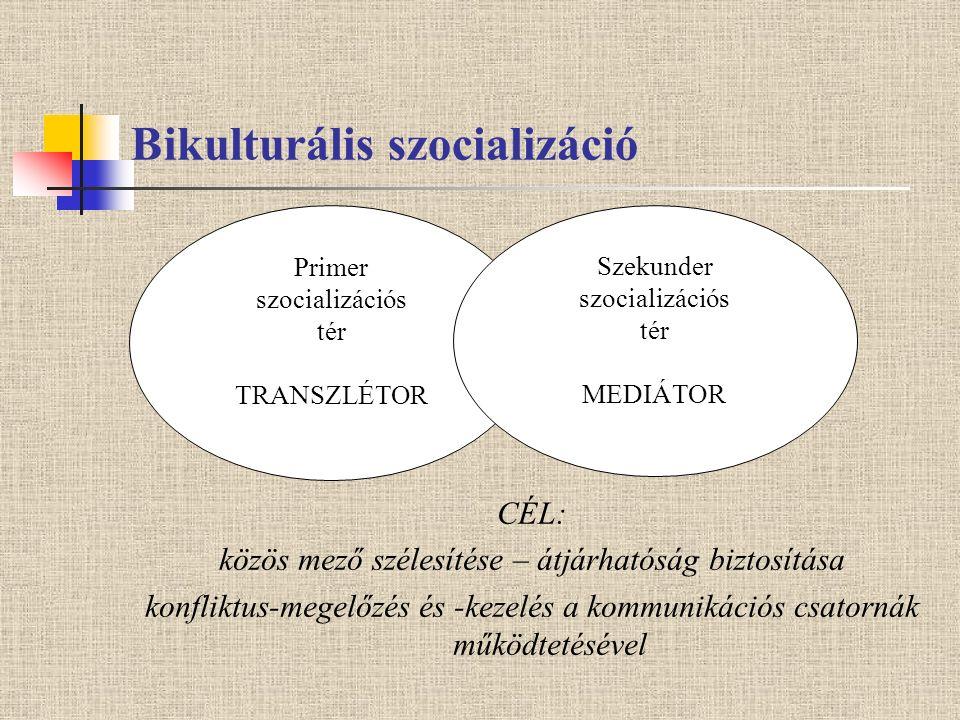 Bikulturális szocializáció CÉL: közös mező szélesítése – átjárhatóság biztosítása konfliktus-megelőzés és -kezelés a kommunikációs csatornák működtetésével Primer szocializációs tér TRANSZLÉTOR Szekunder szocializációs tér MEDIÁTOR