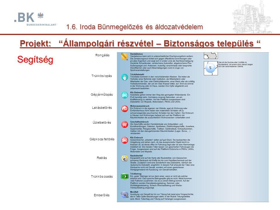 Projekt: _ Állampolgári részvétel – Biztonságos település Segítség 1.6.