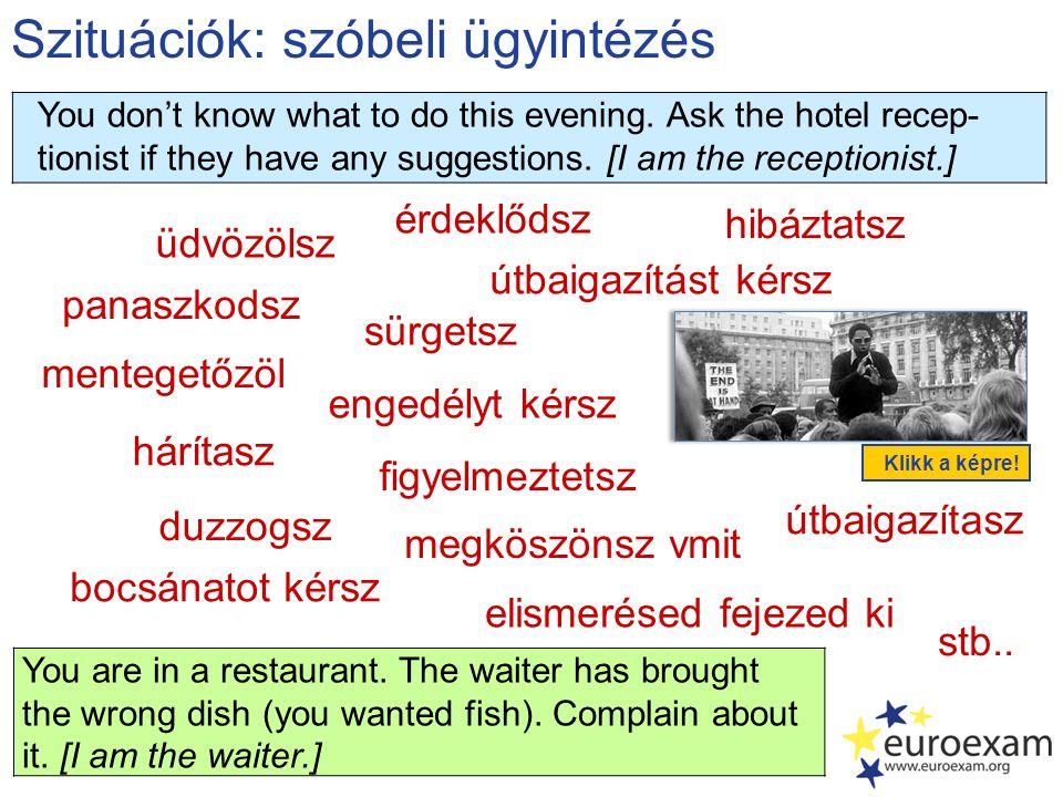 Szituációk: szóbeli ügyintézés üdvözölsz panaszkodsz elismerésed fejezed ki mentegetőzöl érdeklődsz megköszönsz vmit engedélyt kérsz hárítasz hibáztatsz stb..